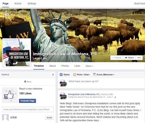 Immigration of Montana Social Media - Facebook Page