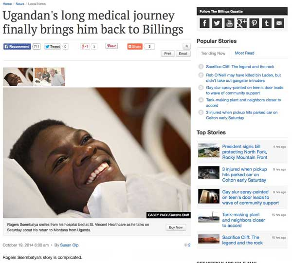 A happy client. Humanitarian Parole for Rogers Ssembatya brought him to the U.S. for medical care. Immigration Law of Montana filed the application