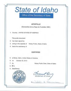 Apostille - State of Idaho